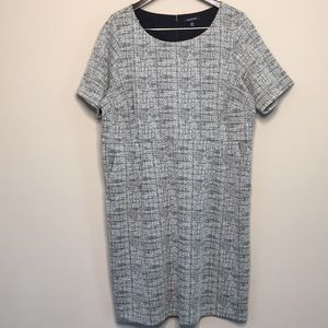 Lands End 18W Dress with Pockets Black and White